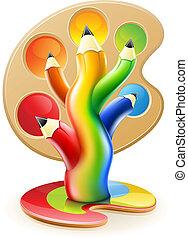 Árbol de lápices de colores concepto de arte creativo