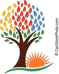 Árbol de la naturaleza y sol vibrante, logo vectorial