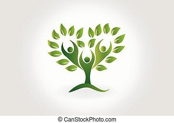 Árbol de logo con hojas símbolo de trabajo en equipo