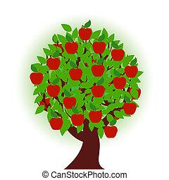 Árbol de manzana sobre fondo blanco