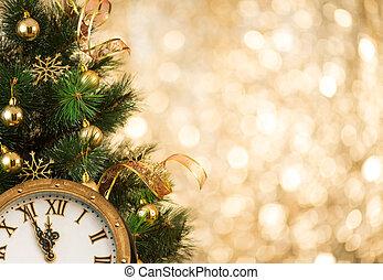Árbol de Navidad con cara retro reloj