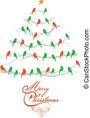 Árbol de Navidad con pájaros, vector