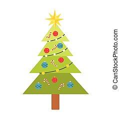 Árbol de Navidad con vectores de juguetes ilustración aislada en el fondo blanco