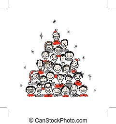 Árbol de Navidad hecho de grupo de personas para su diseño