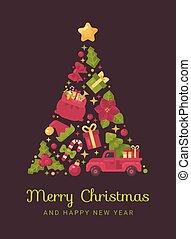 Árbol de Navidad rojo y verde hecho con artículos de Navidad e invierno. Tarjeta de felicitación de año nuevo.