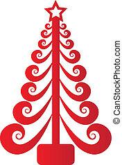 Árbol de Navidad, vector rojo remolino