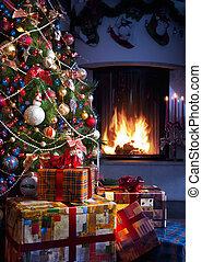 Árbol de Navidad y regalo de Navidad