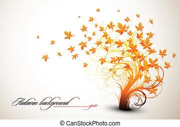 Árbol de otoño, composición de vector limpia