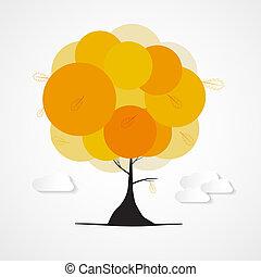 Árbol de otoño vector abstracto con nubes aisladas en el fondo blanco