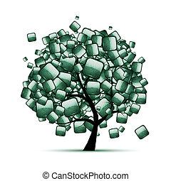 Árbol de piedra verde para tu diseño