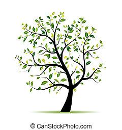 Árbol de primavera verde para tu diseño