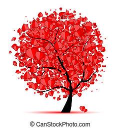 Árbol de San Valentín, amor, hoja de corazones