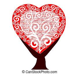 Árbol del corazón aislado en un backgr blanco