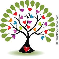 Árbol del vector del logo del amor