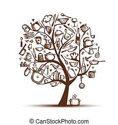 árbol, dibujo, su, arte, utensilios, bosquejo, diseño, cocina