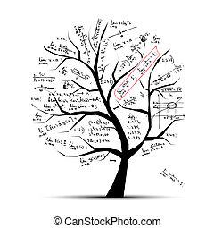 árbol, diseño, su, matemáticas