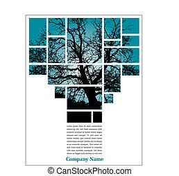árbol, disposición, página