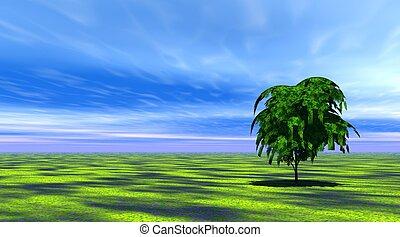 Árbol en hierba verde