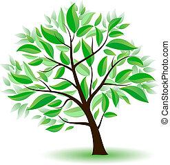 Árbol estilizado con hojas verdes.