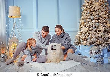 árbol, familia , navidad feliz, perro