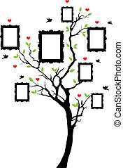Árbol familiar con cuadros, vector