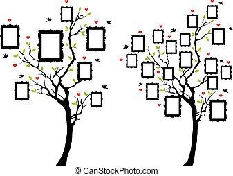 Árbol familiar con fotogramas, vector