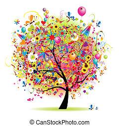 árbol, feliz, feriado, divertido, globos