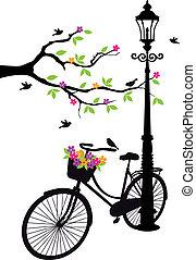 árbol, flores, lámpara, bicicleta