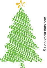 árbol, garabato, navidad, dibujo
