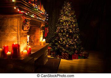 árbol, habitación, vida, adornado, interior, navidad, navidad, chimenea