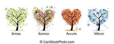 árbol, hermoso, -, primavera, verano, cuatro estaciones, su, diseño, arte, otoño, winter.