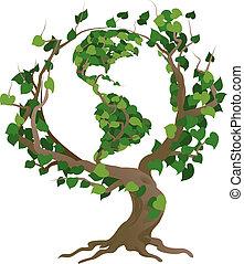 árbol, ilustración, vector, mundo, verde