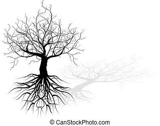 Árbol muerto con raíces vector fondo negro concepto