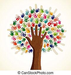 árbol, multi-ethnic, colorido