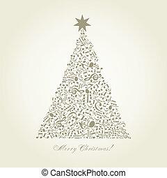 árbol, musical, navidad