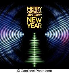 árbol, navidad, vinilo, surcos, musical, tarjeta