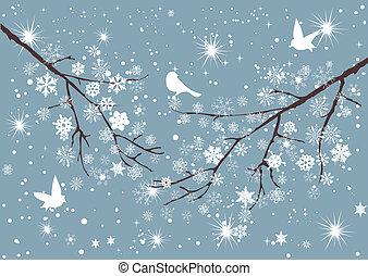 árbol, nieve