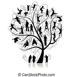 árbol, parientes, familia