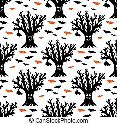 árbol, pattern., halloween, seco, aislado, divertido, vuelo, illustration., bats., acción, ahorcadura, seamless, fondo., blanco, vector