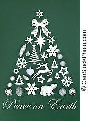árbol, paz, navidad, resumen, tierra