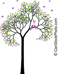 Árbol primaveral con aves de amor, vector