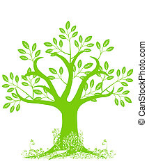 árbol, resumen, silueta, hojas, vides