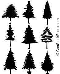 árbol, silueta, navidad