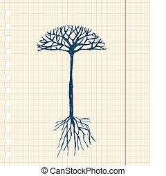 Árbol Sketch con raíces para tu diseño
