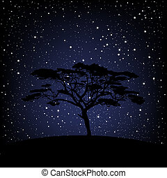 Árbol sobre noche estrellada