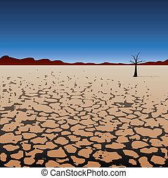 árbol, solo, desierto, seco, vector