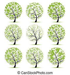 árbol, su, arte, colección, diseño