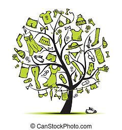 árbol, su, guardarropa, diseño, ropa