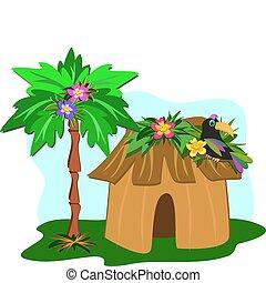 árbol tropical, palma, tucán, choza