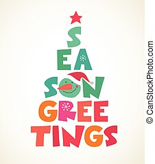 árbol, typographical, navidad